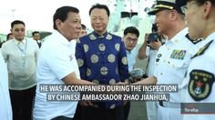 Duterte inspects China warships, jokes of missiles pointed to PH - WATCH VIDEO HERE -> http://dutertenewstoday.com/duterte-inspects-china-warships-jokes-of-missiles-pointed-to-ph/   While President Rodrigo Duterte said the visit of 3 Chinese warships prove the friendly ties between the Philippines and China, he also points out China's military might and the risks this poses. Full story:  News video credit to Rappler's YouTube channel