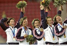 What a moment!! The pinnacle of a career....one last gold medal for the 99'ers. Julie Foudy, Joy Fawcett, Mia Hamm, Kristine Lilly and Brandi Chastain.