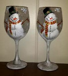 Hand Painted Winter Snowman Wine Glass by LindseyRaye on Etsy