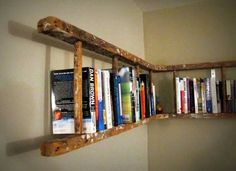 Old wooden ladder turned into book shelf. Old wooden ladder turned into book shelf. Old wooden ladder turned into book shelf. Corner Bookshelves, Ladder Bookshelf, Book Shelves, Bookshelf Ideas, Diy Ladder, Rustic Ladder, Corner Shelf, Creative Bookshelves, Shelving Ideas