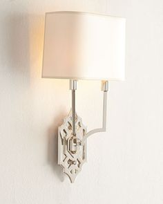 """Silhouette Fretwork Wall Light by Visual Comfort at Horchow.  8.75""""W x 4.5""""D x 16.5""""T overall; backplate, 4.5""""W x 8""""T."""