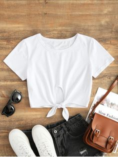 77ff468f851e8 Shop for Cotton Tie Cropped Top WHITE  Tees S at ZAFUL. Only  15.99 and