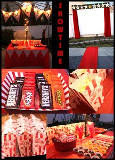 movie theme party ideas | movie screen outside complete with red carpet movie screen was made ...