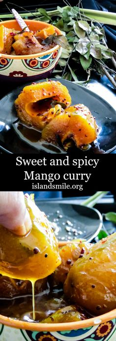 """Sweet and spicy Mango curry is a favorite""""rice puller"""", made using raw mangoes. It's one of many Sri Lankan side-dishes that makes a regular rice and curry special. Gluten-free, vegan and vegetarian."""