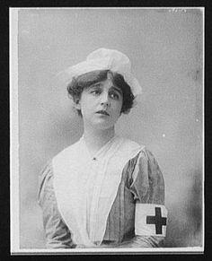 American woman in Red Cross nurse's uniform, circa 1917 ~