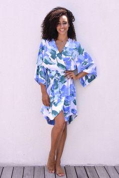 Bridesmaid Robe Short Kimono Robe UN-LINED Watercolour