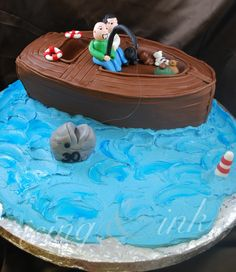 Row Your Boat Cake Cakes  Baked Goods Pinterest Boat Cake - Fishing boat birthday cake