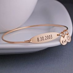 Date Bangle Bracelet - Gold – georgie designs personalized jewelry