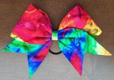 Hand Sewn Cheer BowRainbow Tie Dye by FullBidBows on Etsy