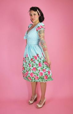 Aqua Rose Border Surplice Dress