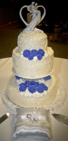 My Wedding cake, layers of royal blue icing inside, no fondant used at all