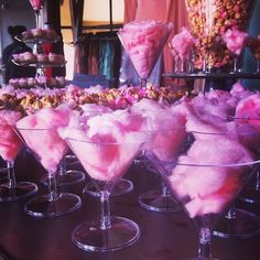 Cotton candy in martini glass