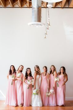 Blushing bridesmaids: http://www.stylemepretty.com/little-black-book-blog/2014/12/12/romantic-wedding-at-the-loft-on-pine-2/ | Photography: The Youngrens - http://theyoungrens.com/