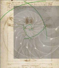 Golden Ratio: Spiral of Conscience superimposed on Da Vinci's drawing Vitruvian Man. The drawing is based on the correlations of ideal human proportions with geometry described by the ancient Roman architect Vitruvius.