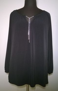 Michael Kors Navy Blue Long Sleeve Blouse Top with Silver Hardware Size XL W74 #MichaelKors #Blouse #Casual