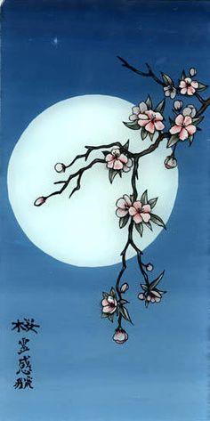 Лунная сакура, луна, сакура, иероглифы