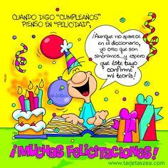 Cuando digo 'Cumpleaños' pienso en 'Felicidad' Spanish Birthday Wishes, Friend Birthday, Happy Birthday, Birthday Stuff, Happy B Day, Birthday Cards, Feelings, Comics, Memes