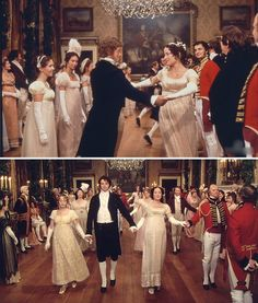 Pride and Prejudice (1995) Starring: (bottom) Lucy Davis as Maria Lucas, Colin Firth as Mr. Darcy, Jennifer Ehle as Elizabeth Bennet and Mr. Baldy Man. The Netherfield Ball.
