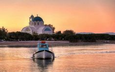 Fishing boat at sunset, Agistri Places In Greece, Greek Islands, Fishing Boats, Athens, The Good Place, Taj Mahal, Earth, Explore, Adventure