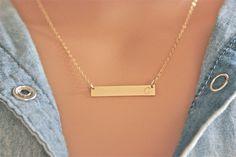 Summer Sale - Personalized Gold Bar Necklace  - Nameplate Necklace -14k Gold Filled - Sterling Silver - Rose Gold Filled