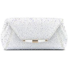 Aimee Clutch Large (9,900 PEN) ❤ liked on Polyvore featuring bags, handbags, clutches, white purse, white clutches, clasp purse, white handbag and chain handbags