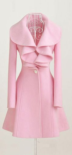 Ruffle collar pink wool coat