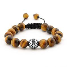 Tiger's Eye Beads and Bali Bead Shamballa Inspired Bracelet