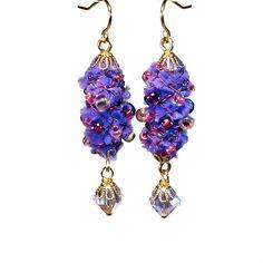 Handmade Purple Dangle Earrings Wire Wrapped Fiber by BluKatDesign