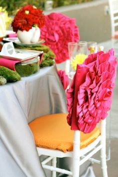 pink ruffled chair cover by tracey