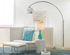 Reproduction Arco Style Floor Lamp, White Marble Round Base |