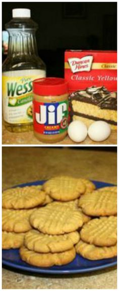Peanut Butter Cake Mix Cookies ~ Easy and so delicious... yellow cake mix, peanut butter, oil, eggs - They always get rave reviews!