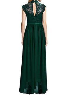 Miusol Womens Formal Floral Lace Cap Sleeve Evening Party Maxi Dress