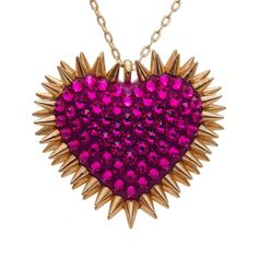 """""""Xirius"""" Spiked & Pavèd Heart Necklace in Fuchsia"""