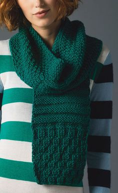 Free Knitting Pattern for Sampler Scarf - This textured scarf is made of repeats of 6 different stitch panels of simple knit and purl patterns, including triangles, stripes, moss stitch, etc.