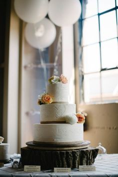 hand-carved rustic wedding cake
