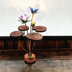 Lilly light made from copper wood and glass no plastic and hand made
