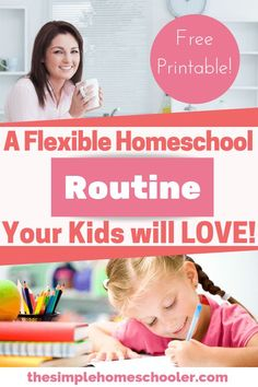 "Tired of hearing ""Are we done yet?!"" Try this simple and flexible homeschool routine. It will give you a daily schedule that is just right for your kids. I have been using it since I started homeschooling and it works! There is even a free printable so you can get going today! #homeschoolroutine #simple #homeschool #howtohomeschool"