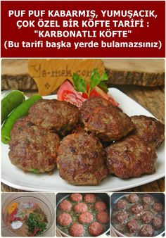 Karbonatlı Köfte (Puf Puf Yumuşacık) We have a little trick for great meatballs, little secrets . This is a special recipe, it's hard to find, see elsewhere . Meatball Recipes, Steak Recipes, Pasta Recipes, Crockpot Recipes, Drink Recipes, Healthy Meats, Healthy Eating Tips, Healthy Snacks, Healthy Nutrition