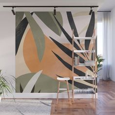 Abstract Art Tropical Leaves 2 Wall Mural by thindesign | Society6 Murals Street Art, Mural Art, Wall Murals, Bedroom Murals, Bedroom Wall, Bathroom Mural, Forest Mural, Green Wall Decor, Boho Chic Living Room