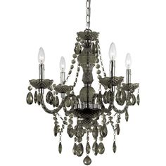 Decorate your home with this beautiful chandelier. Made of plastic, this chandelier comes in smoke to complement your home decor. The AF Lighting 8351-4H Naples 4-light Mini Chandelier is great to use
