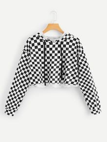 Sporty Plaid Regular Fit Hooded Long Sleeve Pullovers Black and White Crop Length Gingham Drawstring Crop Hooded Tee Young Casual Plaid Regular Fit Hooded Long Sleeve Pullovers Black and White Crop Length Gingham Drawstring Crop Hooded Tee Girls Fashion Clothes, Teen Fashion Outfits, Outfits For Teens, Teen Clothing, Tween Fashion, Fashion Black, Fashion Fashion, Fashion Ideas, Vintage Fashion