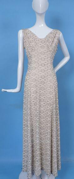 1930'S LONG SILK CREPE DRESS W METALLIC GOLD LAME ART DECO EMBROIDERY | eBay