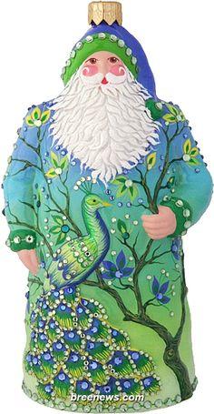 Resplendent Santa, Peacock, Patricia Breen (Blue, Green, Peacocks, Christmas, Ornament)