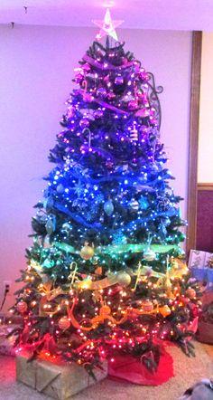 My mother's rainbow Christmas tree.  rainbow, Christmas tree, color wheel, gay pride, red, orange, yellow, green, blue, purple, pink