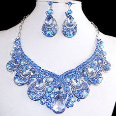 Vintage Style Bridal Jewelry Blue Swarovski Crystal Earrings Necklace Set