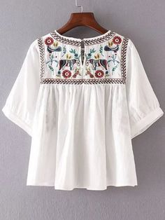 White Embroidery Elbow Sleeve Keyhole Blouse