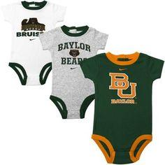 For my grandson - Future Baylor Bear!!  Nike Baylor Bears Infant 3-Pack Creeper Set - White/Ash/Green