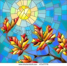 Illustration in stained glass style with maple leaves on background sky and sun