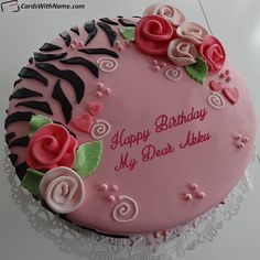 Free Design Pretty Birthday Cake For Girlfriend With Name Maker photo on best online generator and send happy birthday cakes with name editing options. Birthday Cake Write Name, Birthday Card With Name, Birthday Cake Writing, Birthday Wishes Cake, Pretty Birthday Cakes, Cake Name, Happy Birthday Cakes, Free Happy Birthday Cards, Happy Birthday Dear