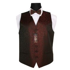 black and burgundy wedding | Men's Swirl Black & Burgundy Wedding Waistcoat & Bow Tie Set | Mens ...